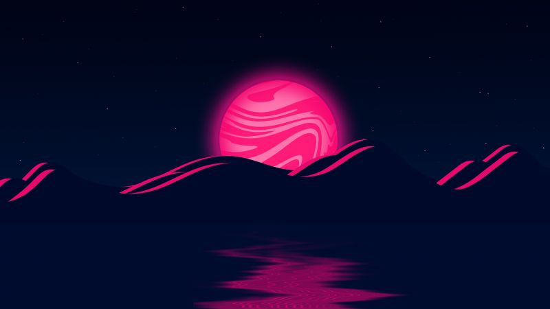 Pink Moon, Mountains, Illustration, Body of Water, Stars, Night, Dark background, 5K, Wallpaper