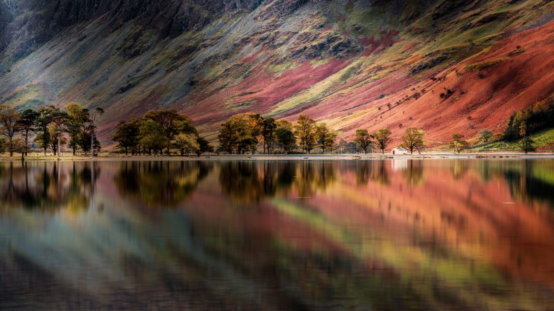 Buttermere Lake, England, Pine trees, Reflection, Panoramic, Long exposure, Mountains, Landscape, Scenery, 5K, Wallpaper