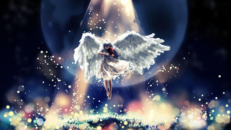 Girl playing Violin, Moon, Surreal, Bokeh, Digital illustration, Angel wings, Wallpaper