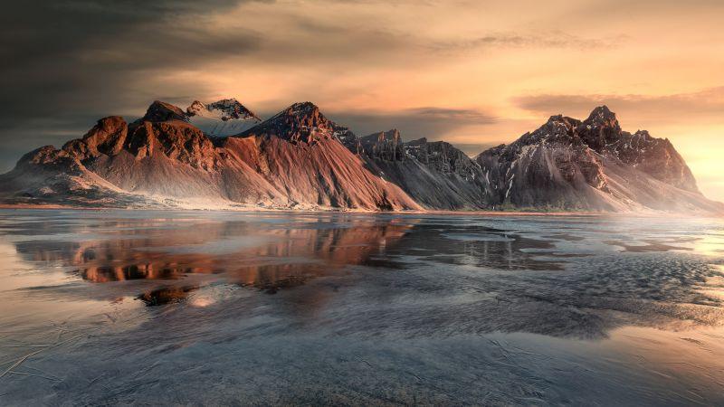 Vestrahorn, Sunrise, Snow covered, Mist, Iceland, Frozen, Winter, Mountain range, Landscape, Scenery, 5K, Wallpaper