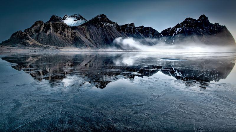 Vestrahorn, Iceland, Frozen lake, Mountain Peak, Mist, Winter, Reflection, Landscape, Scenery, 5K, Wallpaper