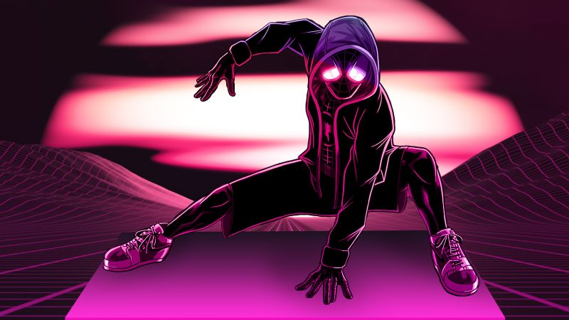 Miles Morales, Spider-Man, Neon, Pink, Wallpaper