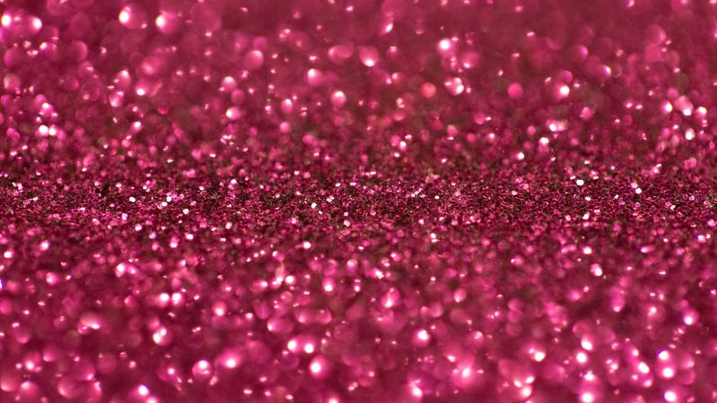 Pink Glitter, Shimmering, Pink background, Shiny, Sparkles, Selective Focus, Macro, Blurred, 5K, Wallpaper