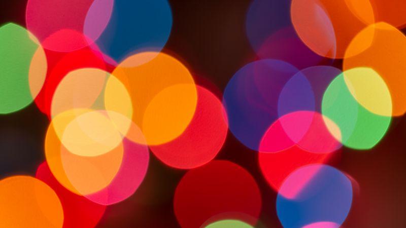 Lights Bokeh, Blur background, Colorful, Multicolor, Circles, 5K, Wallpaper