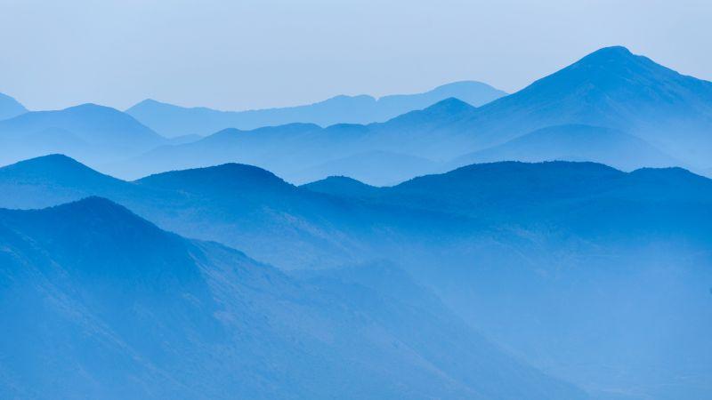 Blue mountains, Foggy, Mountain range, Landscape, Scenery, 5K, Wallpaper
