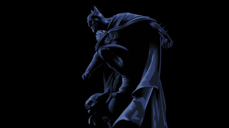 Batman, DC Superheroes, DC Comics, Black background, AMOLED, Dark Knight, 5K, Wallpaper