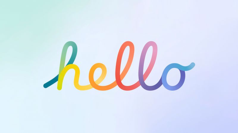Hello, Typography, Gradient background, Colorful, White background, Apple Event, 5K, Wallpaper