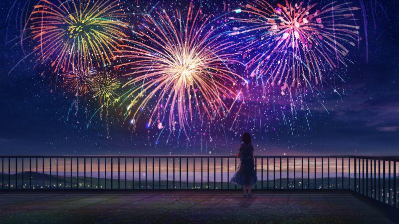 Anime girl, Fireworks, Colorful, Dream, Alone, Mood, Aesthetic, Wallpaper