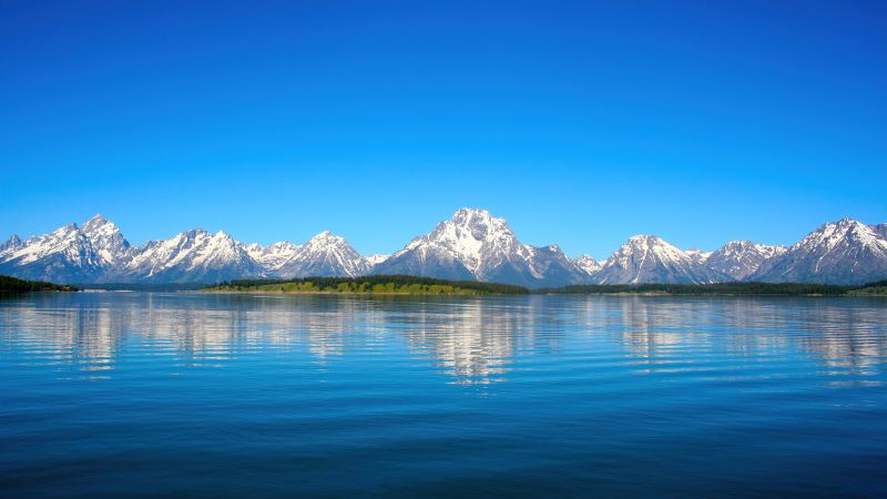 Jenny Lake, Landscape, Grand Teton National Park, Sunny day, Reflections, Mountains, Wyoming, Blue Sky, Tranquility, Wallpaper