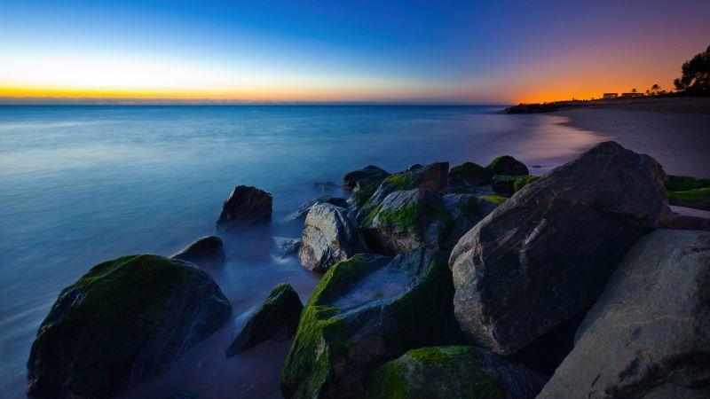 Palm Beach, Tropical beach, Sunrise, Dawn, Early Morning, Rocks, Seascape, Ocean, Florida, Wallpaper