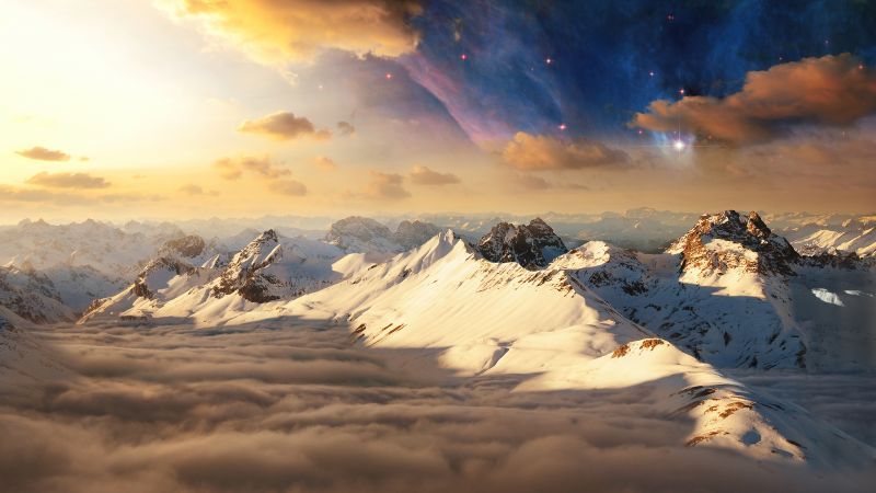Swiss Alps, Alps mountains, Switzerland, Clouds, Surreal, Scenic, Aesthetic, Astronomy, Wallpaper