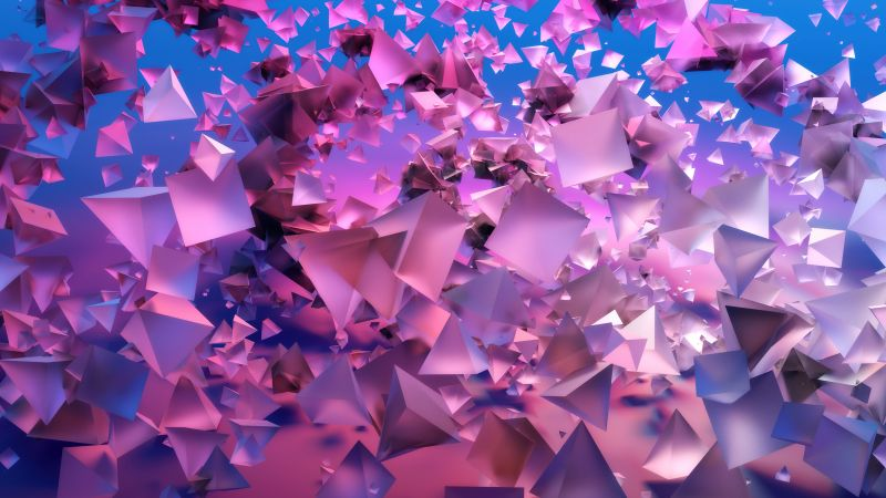3D Shapes, 3D background, Gradient background, Pink, Frosty, Triangles, Wallpaper