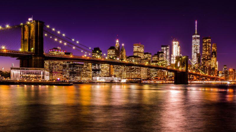 Brooklyn Bridge, New York City, Skyline, Cityscape, Night time, City lights, Waterfront, Reflection, Skyscrapers, Purple sky, Sunset, Long exposure, 5K, Wallpaper