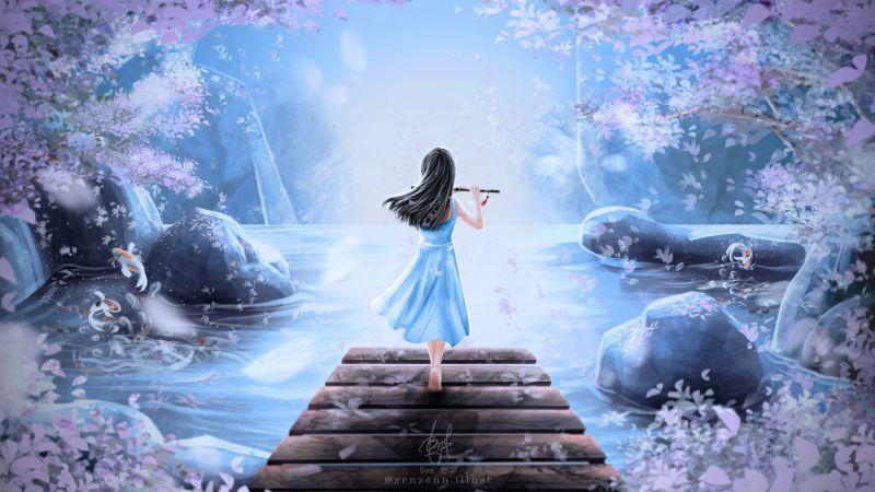Girly, Dream, Girl playing flute, Surreal, Spring, Digital Art, Illustration, Digital paint, Wallpaper