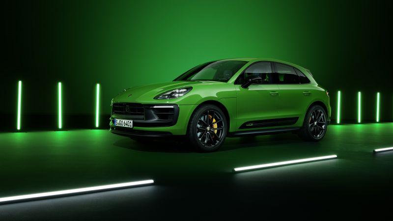 Porsche Macan GTS, Sport Package, 2021, Dark background, Neon, Green, 5K, Wallpaper