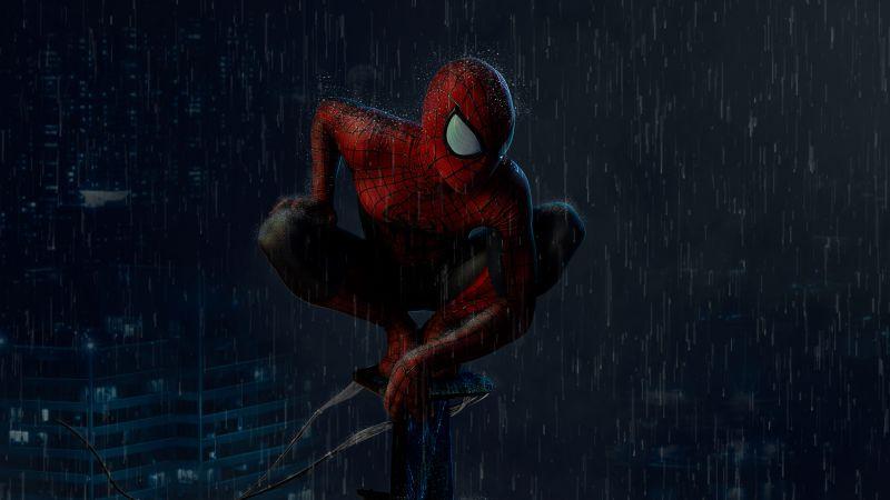 Spider-Man, Rain, Marvel Superheroes, Dark, Night, Wallpaper