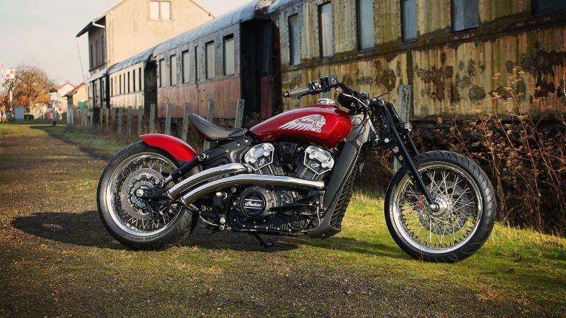 Indian Motorcycle Metz, Scout Bobber, Red Wings, 2021, 5K, Wallpaper