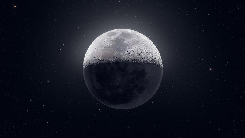 Moon, Stars, Astrophotography, Dark background, 5K, 8K, 9K
