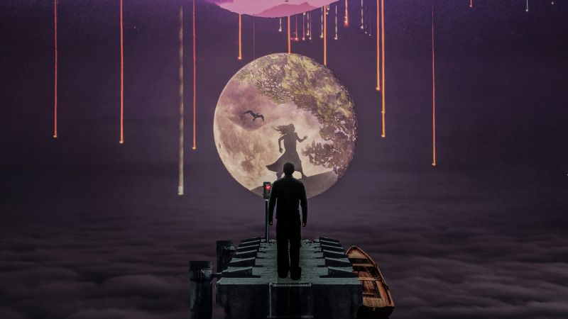 Man, Moon, Girl, Dream girl, Surreal, Night, Falling stars, Above clouds, Wallpaper
