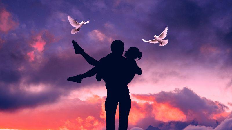 Lovers, Couple, Silhouette, Romantic, Surreal, Sunset, Moon, White Pigeons, Love Birds, Wallpaper