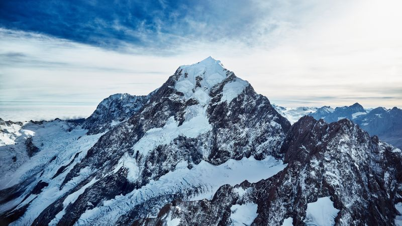 Mount Cook, Peak, Snow covered, Mountains, New Zealand, 5K, Wallpaper