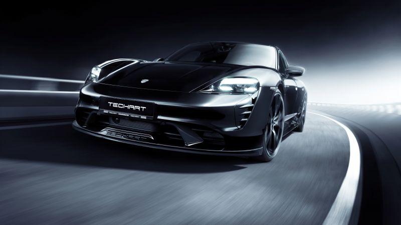 TechArt Porsche Taycan Aerokit, Black cars, Dark background, 2021, Wallpaper
