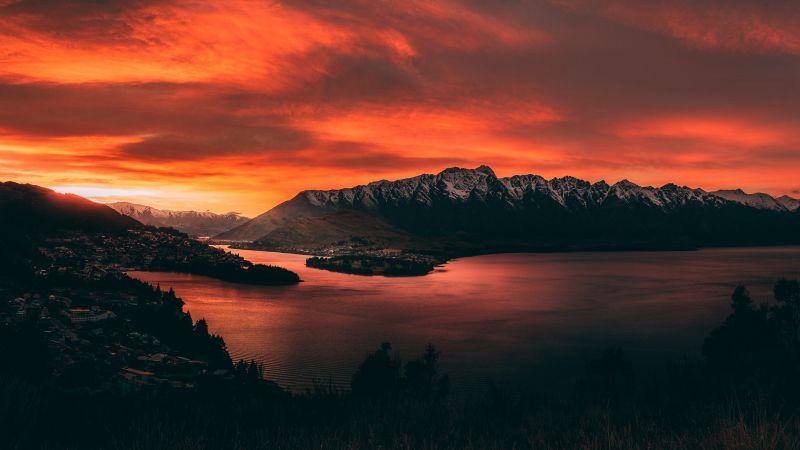 Queenstown, New Zealand, Mountain range, Snow covered, Early Morning, Orange sky, Sunrise, Body of Water, Landscape, Scenery, 5K, Wallpaper