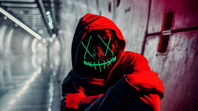 Neon Mask, Red Hoodie, Tunnel, Portrait, Face Mask, Anonymous, 5K, Wallpaper