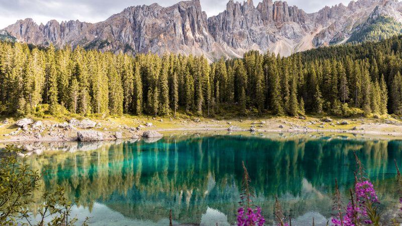 Lake Carezza, Italy, Mirror Lake, Mountain range, Landscape, Scenery, Pine trees, 5K, Wallpaper