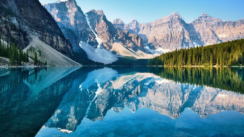 Moraine Lake, Canada, Pine trees, Landscape, Reflection, Scenery, Mountain range, Turquoise water, Daytime, 5K, Wallpaper