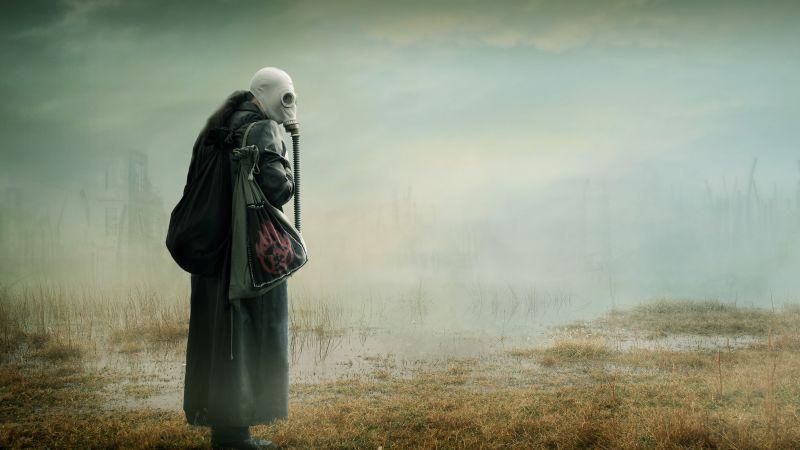 Gas mask Woman, Mist, Wasteland, Toxic, Environmental, Future, 5K, Wallpaper