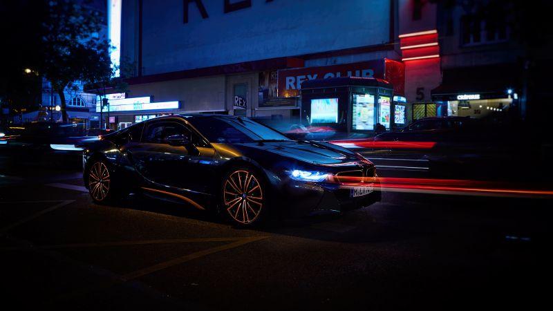 BMW i8 Ultimate Sophisto Edition, Night, Urban, 5K, Wallpaper