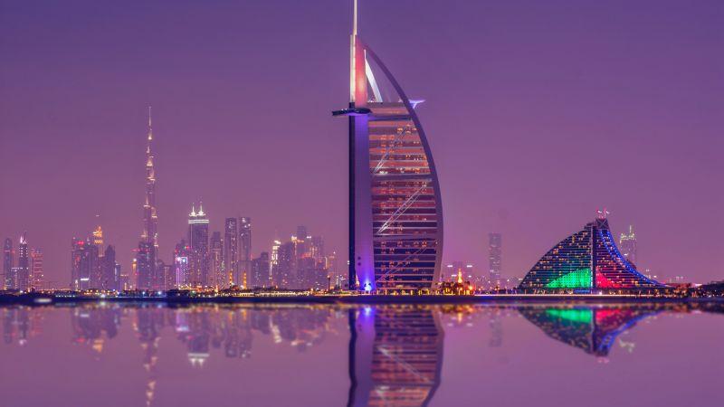 Burj Al Arab, Luxury Hotel, Cityscape, Low Angle Photography, Night lights, Waterfront, Reflection, Purple sky, Skyscrapers, 5K, Wallpaper