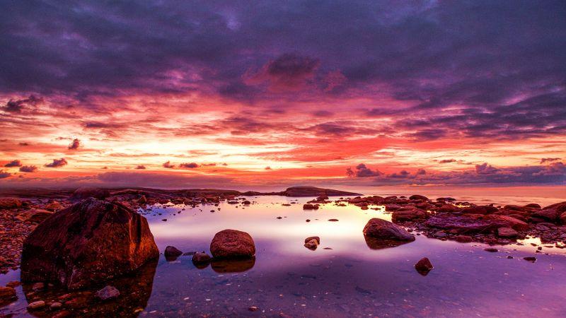 Seashore, Rocky coast, Cloudy Sky, Dusk, Horizon, Ocean, Landscape, Scenery, 5K, 8K, Wallpaper