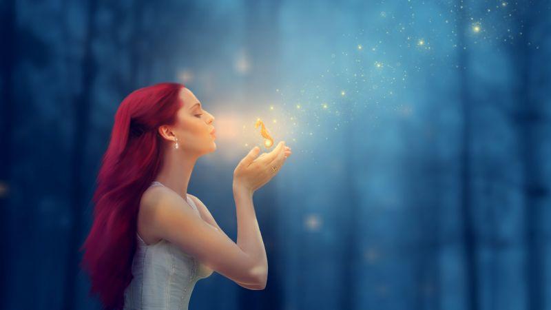 Fantasy girl, Seahorse, Forest, Dream, Blur background, Manipulation, 5K, Wallpaper