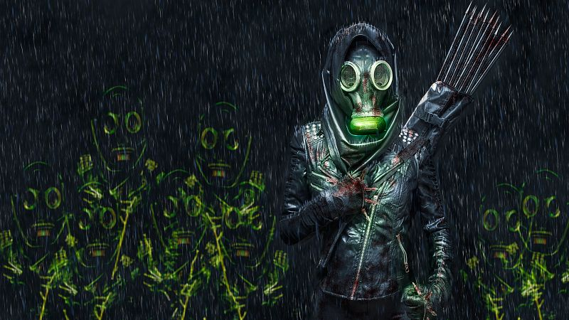 Person in Mask, Fighter, Scary, Rain, Blood, Manipulation, Anonymous, 5K, Wallpaper