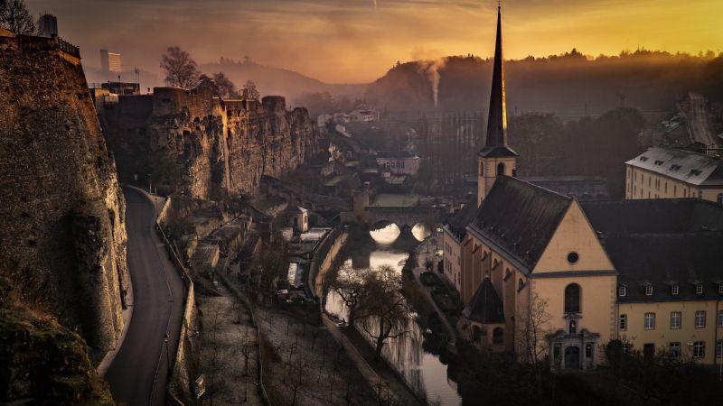 Luxembourg City, Sunset, Cityscape, Church, 5K, Wallpaper