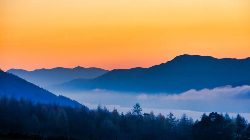 Loch Ness, Silhouette Mountain, Sunset, Orange sky, Foggy, Dusk, Landscape, 5K, Wallpaper