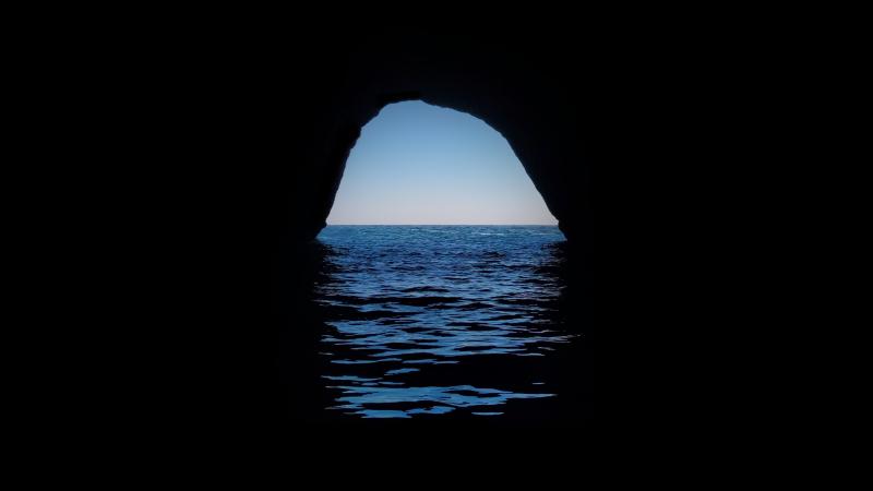 Cave, Silhouette, Ocean, Dark Place, Seascape, Horizon, Wallpaper