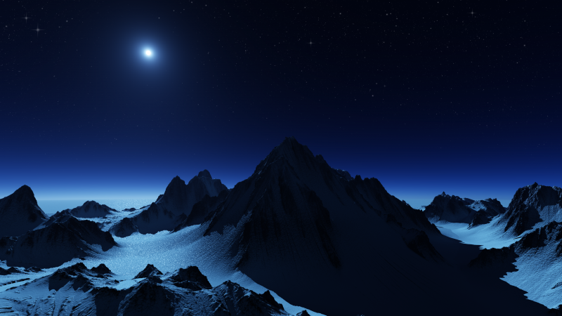 Antarctica, Mountain range, Glacier, Snow covered, Night sky, Moon light, Stars, Landscape, Scenery, Wallpaper