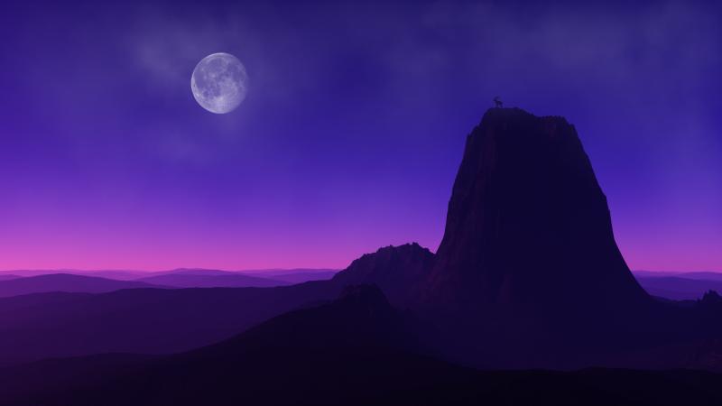 Mountain Peak, Full moon, Capricorn, Mountain Goat, Dusk, Night time, Purple background, Horizon, Landscape, Scenery, Wallpaper