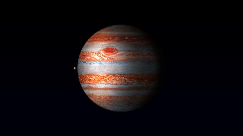 Jupiter, iPad Pro, Planet, Black background, HDR, Retina, iOS, 5K, 8K