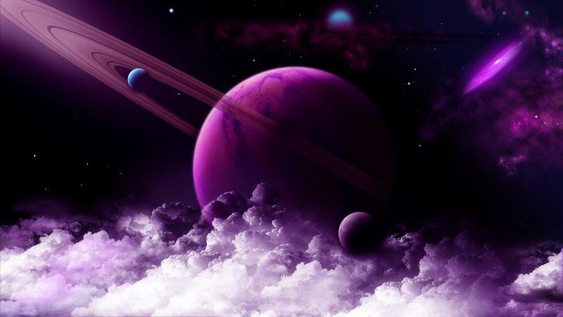 Purple Planet, Saturn Rings, Nebula, Galaxy, Astronomy, Stars, Clouds, 5K, 8K, Wallpaper