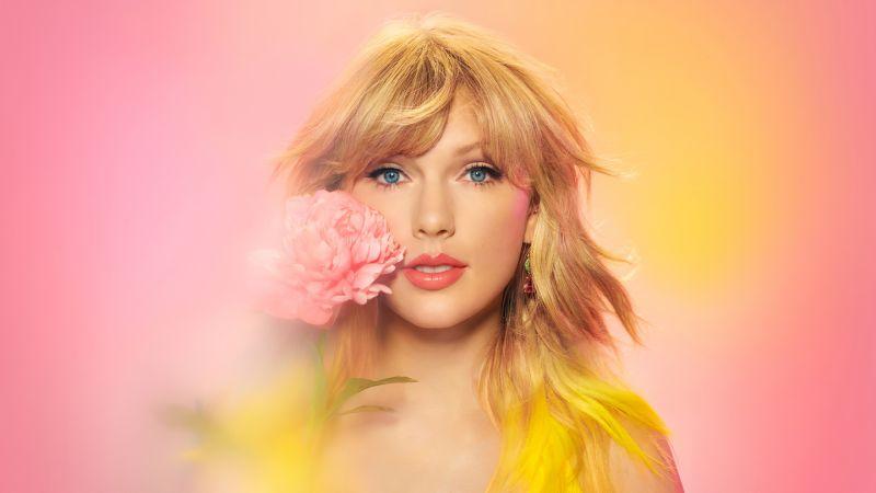 Taylor Swift, American singer, Portrait, Gradient background, Beautiful, Wallpaper
