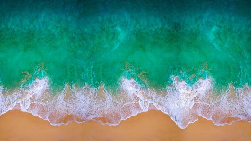 Beach, Aerial view, Waves, Ocean, MacBook Pro, iOS 11, Mac OS, Waterscape, Shore, Digital Art, Apple iMac, 5K, Wallpaper