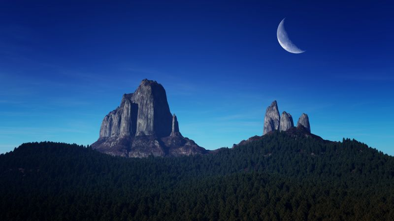 Mountain Peaks, Crescent Moon, Night time, Blue Sky, Landscape, Forest, Wallpaper