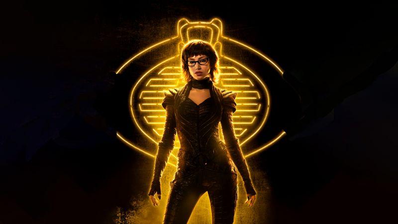 Snake Eyes: G.I. Joe Origins, 2021 Movies, Baroness, Úrsula Corberó, 5K, 8K, Black background, Wallpaper
