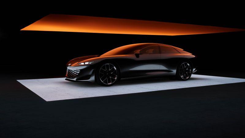 Audi grandsphere concept, Electric cars, Concept cars, 2021, Black background, 5K, 8K, Wallpaper