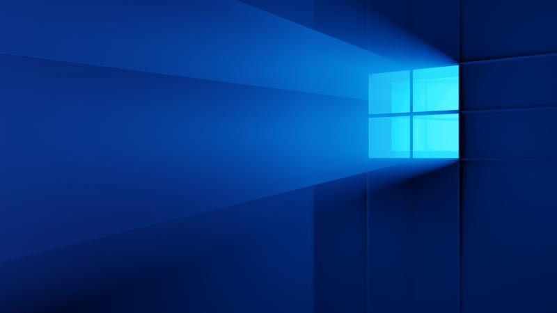 Windows 11, Windows logo, Blue background, Light, Wallpaper