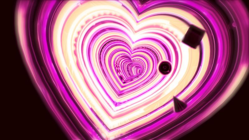 Love heart, 3D background, Pink, Illusio, Wallpaper
